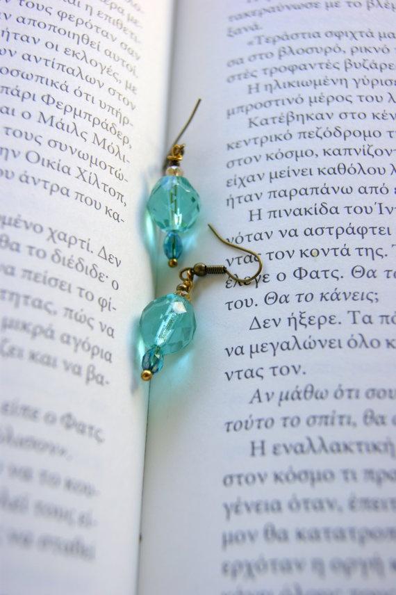 Mint Green earrings retro style by RenatasArt on Etsy, €7.00