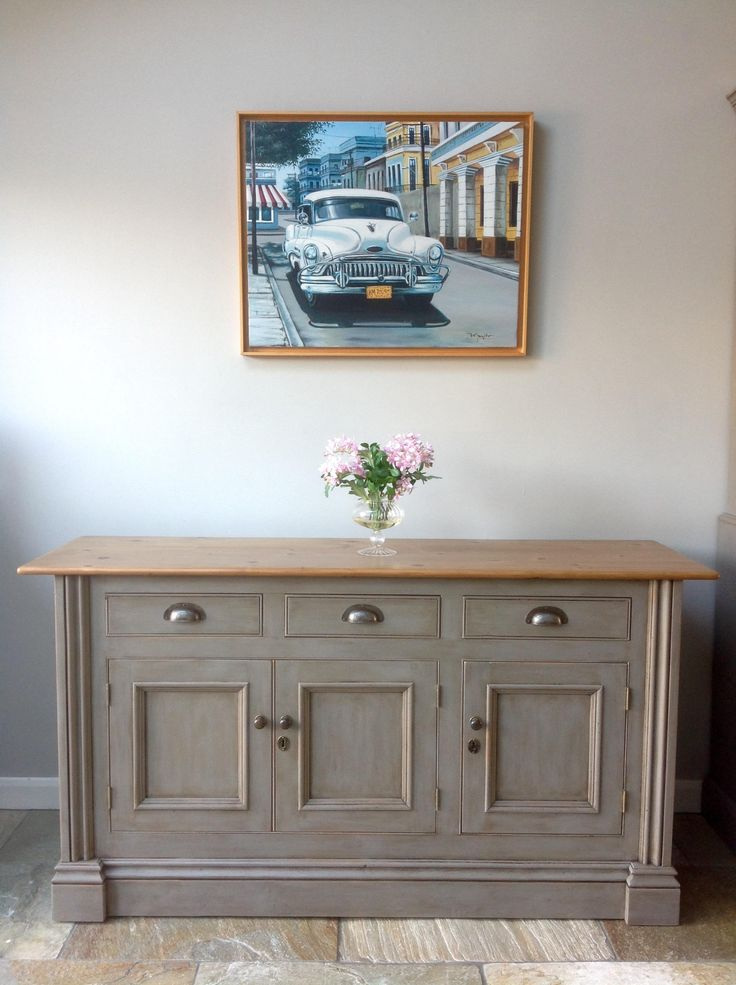 rustic chalk painted annie sloan french linen grey pine country sideboard cupboard kitchen unit. Black Bedroom Furniture Sets. Home Design Ideas