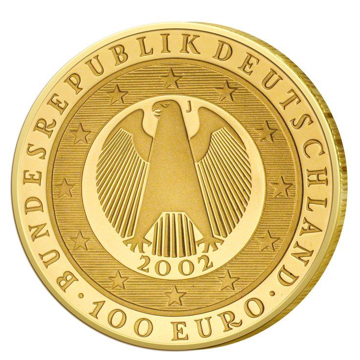 Wertseite der Münze BRD 100 Euro 2002 Übergang zur Währungsunion - Einführung des Euro