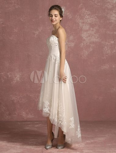 327334b5884b Summer Wedding Dresses 2018 Lace Beaded Bridal Gown Strapless Sleeveless A Line  High Low Bridal Dress - Milanoo.com
