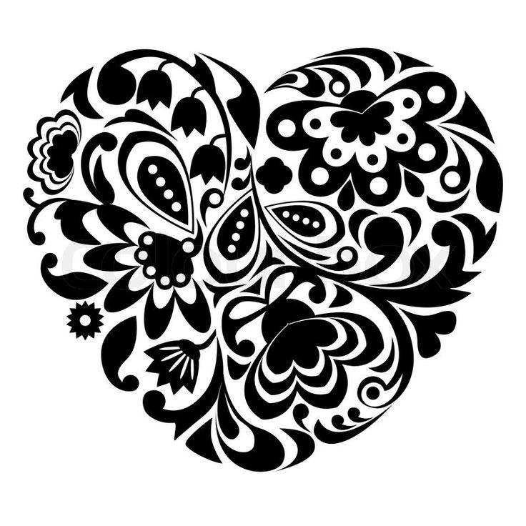 Filigree Heart Clip Art | Stock-Vektor von 'Black ...