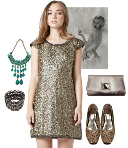 #1920sFlam #trends #fashion #theGreatGatsby #flats #purse #emerald necklace #bracelet #flashy #gold #accents #embellishments #golddress