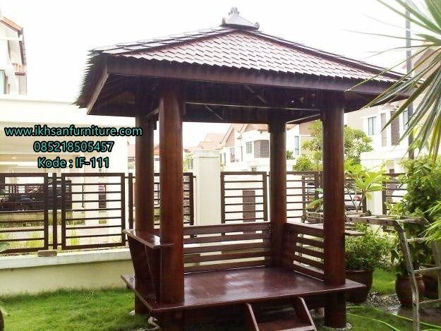 JualGazebo Taman Kayu Kelapa Atap Sirap Terbaru ModelGazebo Taman…