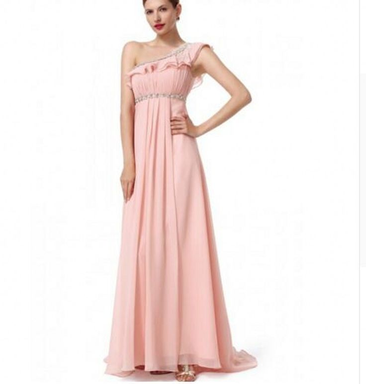 ==> [Free Shipping] Buy Best Blush Pink Bridesmaid Dresses vestido longo Chiffon One Shoulder Ruffled Long Dress Country Bridesmaid Gowns vestido de festa Online with LOWEST Price | 32706158838