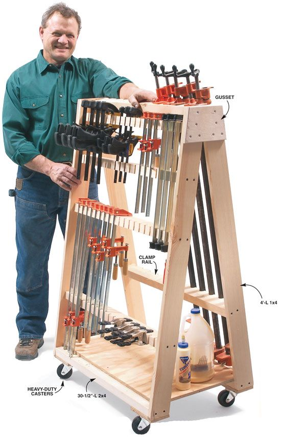 Mobile Clamp Rack Hold it! Roll it! Hang it! Store it! By Roger Meinen Tired of dragging clamps around my shop, I built this rack that brings them right to the job. It takes up only 21 x 32 in. of real estate and can handle 36 adjustable clamps and 12 4-ft. pipe clamps. I assembled the side frames separately before screwing them together with gussets at the top and …
