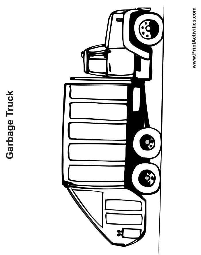 Garbage Truck Coloring Page Rundle