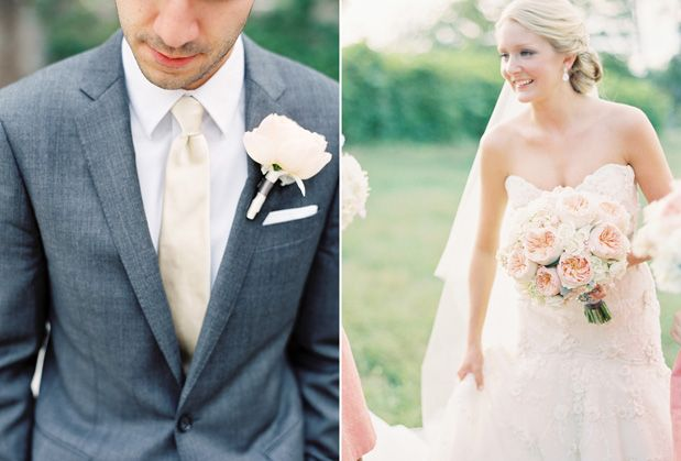 Love the dark gray suit paired with a champagne tie and light bloom bout