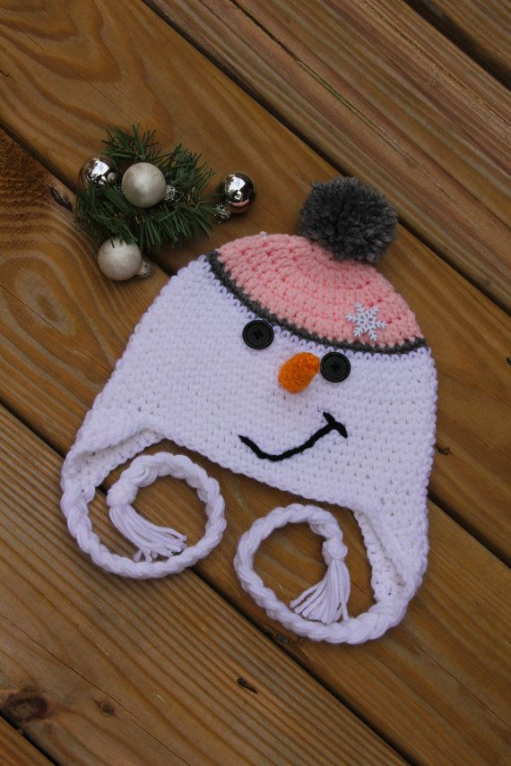 This listing is for a Pink Snowman Hat. My Crochet Snowman hat is the most perfectly cute hat for your little princess. This Girls Snowman Hat is