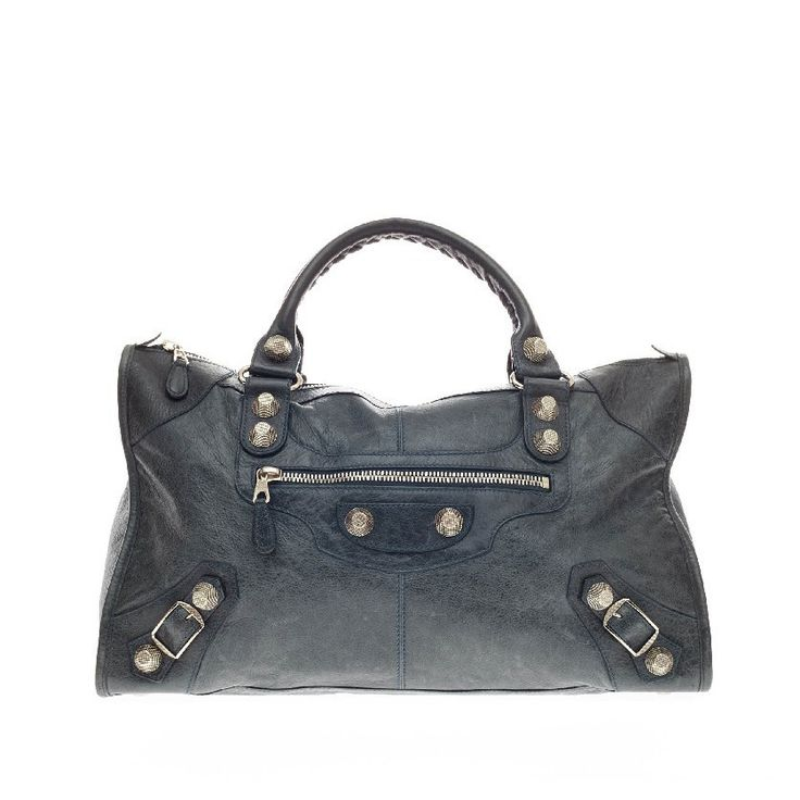 Balenciaga Work Giant Studs Leather | From a collection of rare vintage tote bags at https://www.1stdibs.com/fashion/handbags-purses-bags/tote-bags/