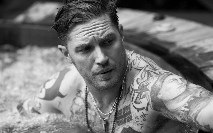 Scarica sfondi Tom Hardy, attore britannico, monocromatico, ragazzi, tatuaggio