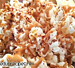 21 Day Fix | Peanut Butter Popcorn | Fixed Up Recipes    1 yellow treat, 1 tsp.    Ingredients: 3 cups of air popped popcorn... 1/2 tsp cocoa powder 1 tsp melted peanut butter  Instructions: 1. Melt peanut butter in microwave 2. Toss popcorn with cocoa powder 3. Drizzle peanut butter over top of popcorn with a spoon. 4. Let popcorn sit for 5 min until peanut butter solidifies.