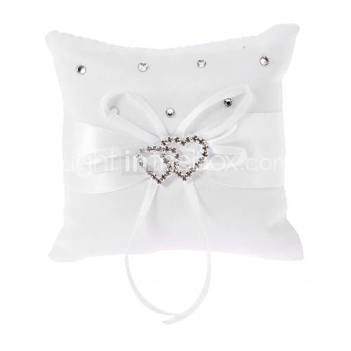 Pure White Ring Pillow In White Bowknot Satin With Heart Shaped Rhinestone - DKK kr. 60
