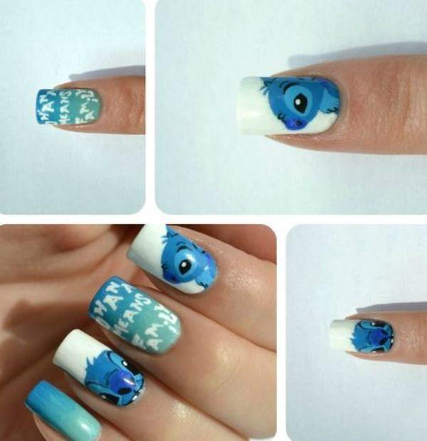 Nail Art Stitch: Lilo-disney-nail-art-for-cute-girls