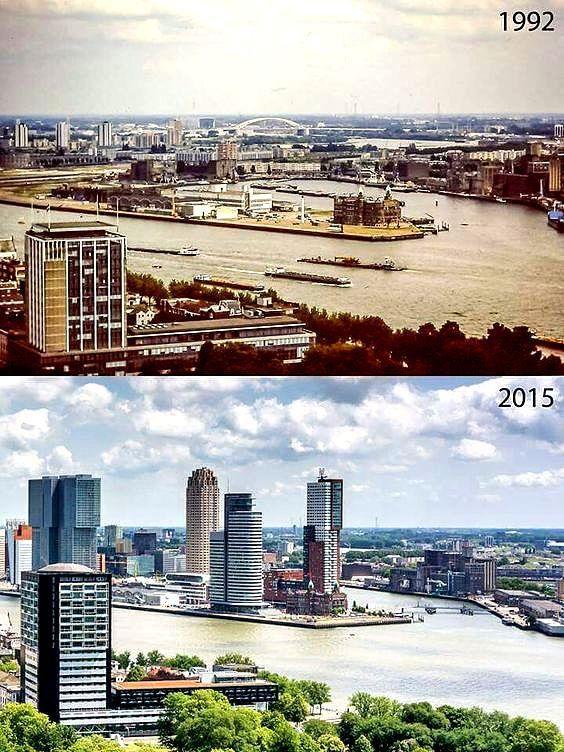 Rotterdam - Wilhelminapier 1992 en 2015