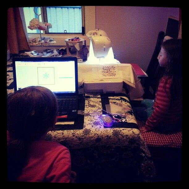 The girls doing some machine #embroidery www.facebook.com/SweetPeasandMe