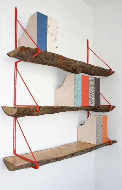 Studio Swine - Office... I think I'd paint the wooden magazine holders to look like birch bark Woodland Shelves. #Fisherprice #Pinparty