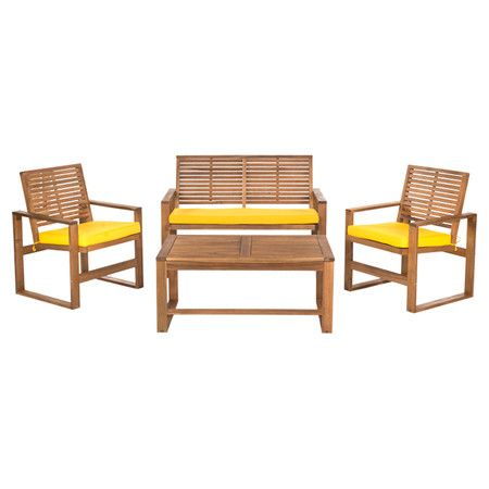 Four-piece slatted patio set. Product Loveseat, coffee table and 2 arm  chairsConstruction Material Acacia wood a.