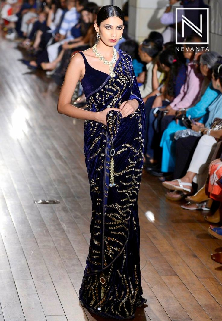 Grab the spotlight in a deep-hued #velvet #saree @ #ManavGangwani