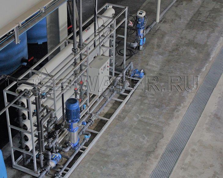 Промышленная система водоподготовки, обратны осмос, вид сверху