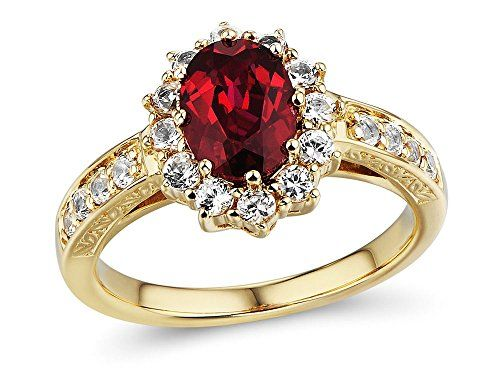 Lab Created Ruby and White Sapphire Halo Ring in 10k Yellow Gold � Jewelry from Selena