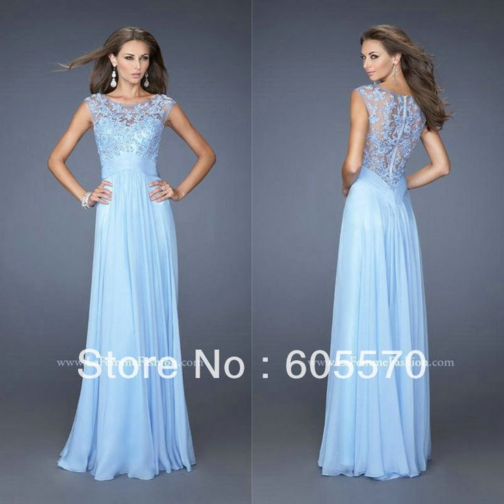 Cloud Chiffon and Lace Full Length High Neck Formal Gown Cap Sleeve Evening Dress Long Formal US $129.99