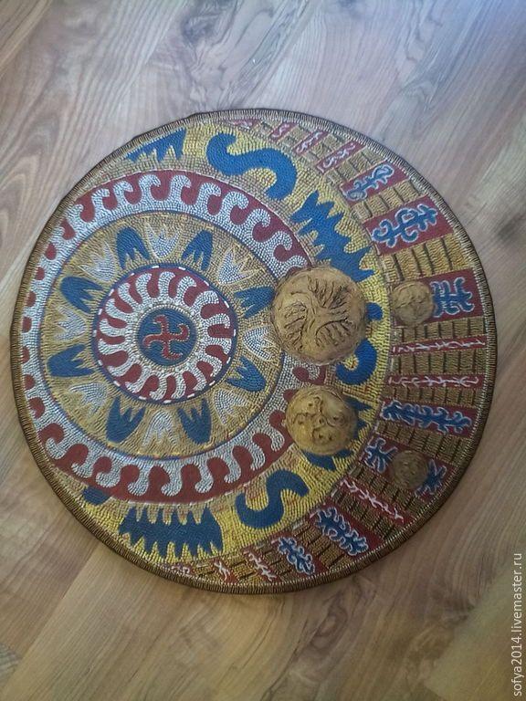 """Купить """"Монеты,падающие на ковер"""" - золотой, декоративные элементы, индивидуальный дизайн, синий, бронза, панно"""