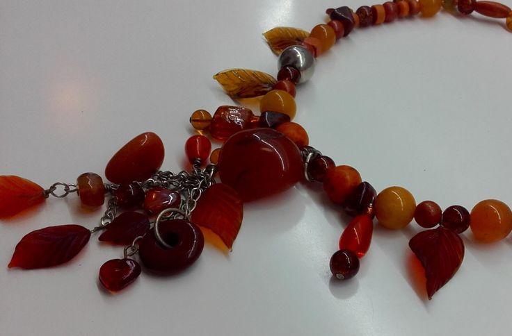 Statement bead necklace, orange bead necklace, handmade bead necklace, orange bead lariat, statement bead lariat, orange lariat, bead lariat by JewelleryArtDPDesign on Etsy