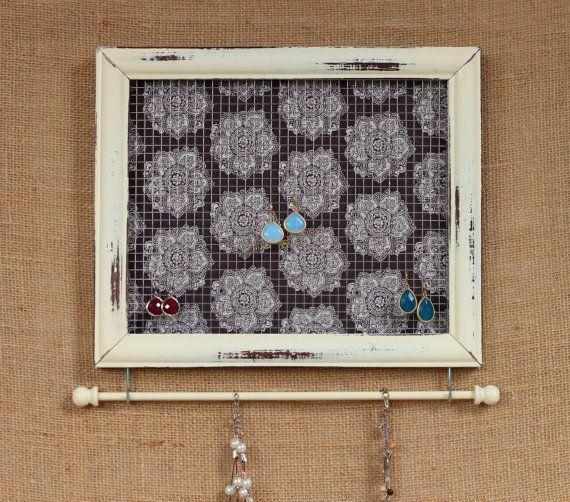 Jewelry Holder- Distressed Antique White Framed Jewelry Organizer