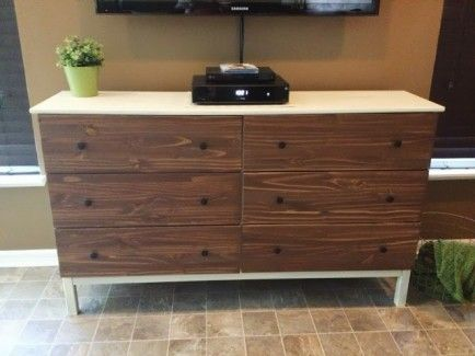 Love this idea! Maybe buy the dresser unfinished. Paint the dresser white, but the drawer fronts a darker grey than the walls. Put on a shabby chic knob, and done!  Ikea hack Tarva dresser - like the contrast between the stained drawer fronts with the white dresser body
