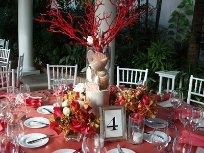 Beach centerpiece: Coral Colors, Beaches Theme, Colors Palettes, Sea Theme, Wedding Centerpieces, Beaches Wedding, Coral Tables, Coral Centerpieces, Center Pieces