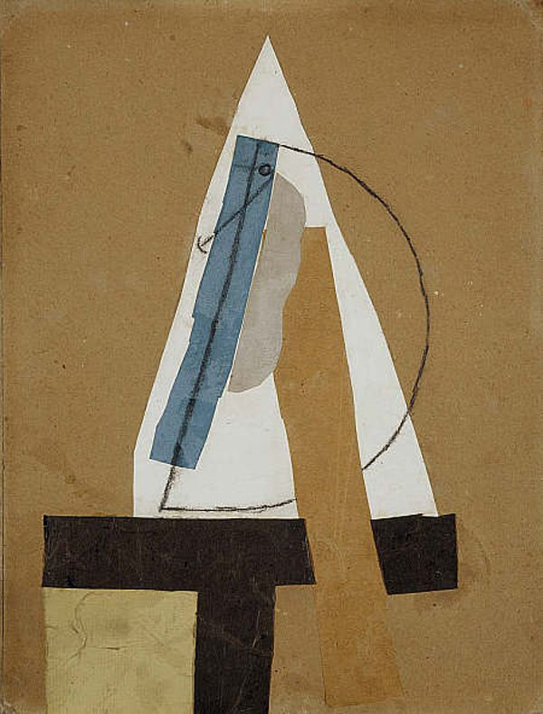 Tête – Head, 1913 - This famous piece is one of the most abstract Cubist collages. A profile of a head can be traced in the charcoal drawn half-circle, but all of the facial elements are greatly reduced to geometric shapes.
