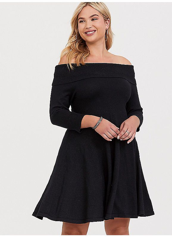 4a6e8cf553f9b TORRID : Black Shimmer Off the Shoulder Sweater Dress | My Style ...