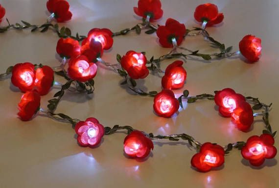 Flower fairy  Lights ; Red flowers; cool white LED Battery operated  Lights for Decoration of wedding/party/bedroom/nursery