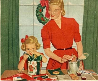 Vintage Christmas illustration - wrapping presents