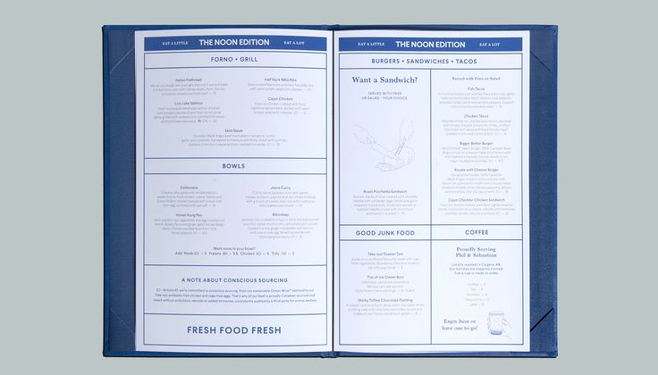 Menu spread designed by Glasfurd & Walker for US and Canadian restaurant chain prototype Earls.67