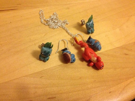 Pokemon original starter earring and necklace by MustachesUnite