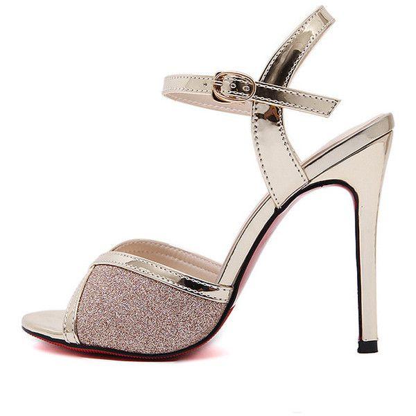Gold Peep Toe Glitter Metallic Slingback Stiletto High Heels (55 AUD) ❤ liked on Polyvore featuring shoes, sandals, gold peep toe flats, gold sandals, high heel stilettos, peep toe flats and gold high heel sandals