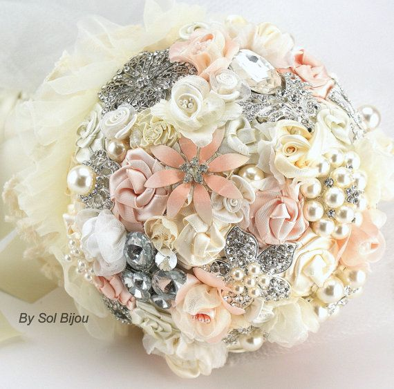Brooch Bouquet Pearl Bouquet Bridal Bouquet in Blush, Cream and Ivory with Pearls, Fabric Flowers, Lace and Brooches on Etsy, $450.00