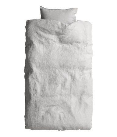 Påslakanset i tvättat linne | Ljusgrå