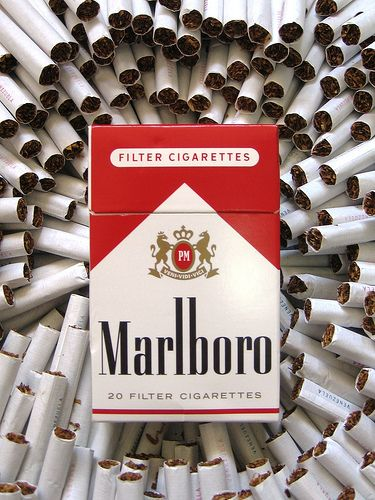 Marlboro Cigarette Pack- symbolizes how cigs were important and that everybody smoked