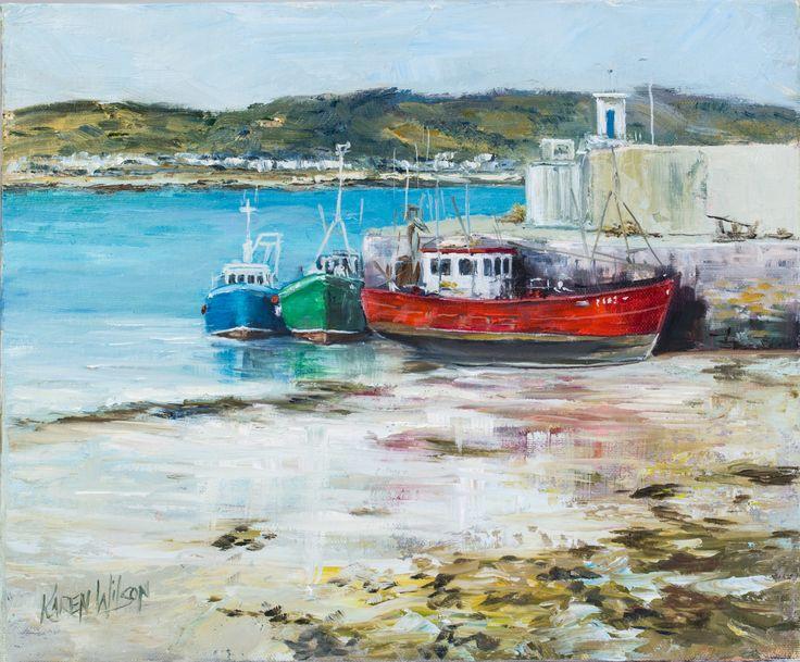 Low tide Skerries Pier 30x24cm oil
