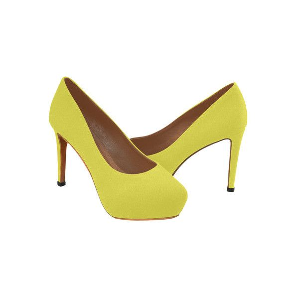 Yummy Lily Yellow Solid Color Women's High Heels (Model 044) ($51) ❤ liked on Polyvore featuring shoes, pumps, lily shoes, high heeled footwear, high heel shoes, yellow high heel shoes and yellow pumps