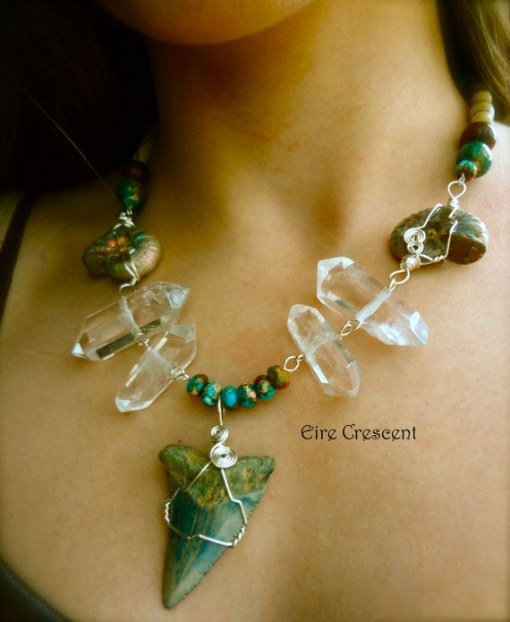 Sea Witch Necklace- Shark tooth Ammonite and Quartz Necklace by EireCrescent, $49.99