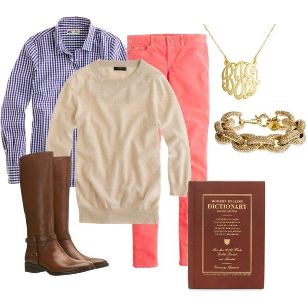 salmon pants / blue checkered shirt / oatmeal sweater / congac boots / gold accessories