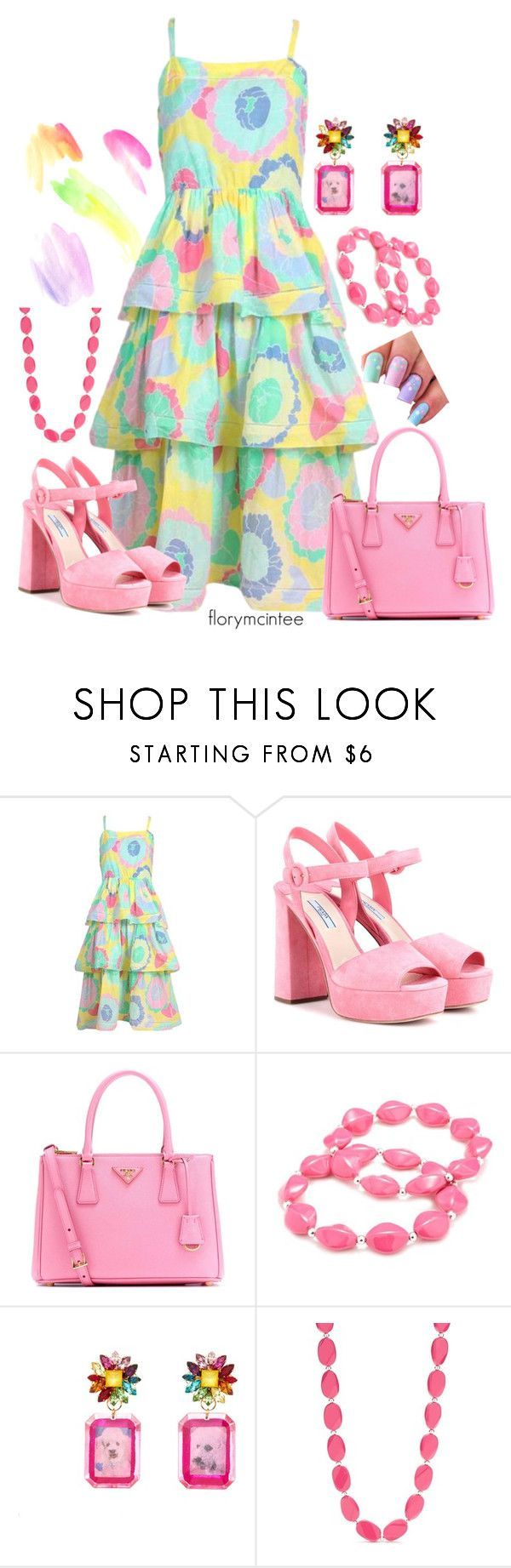 """Pastel Summer Dress"" by florymcintee ❤ liked on Polyvore featuring Albert Nipon, Prada, Kim Rogers and Mimi Wade"