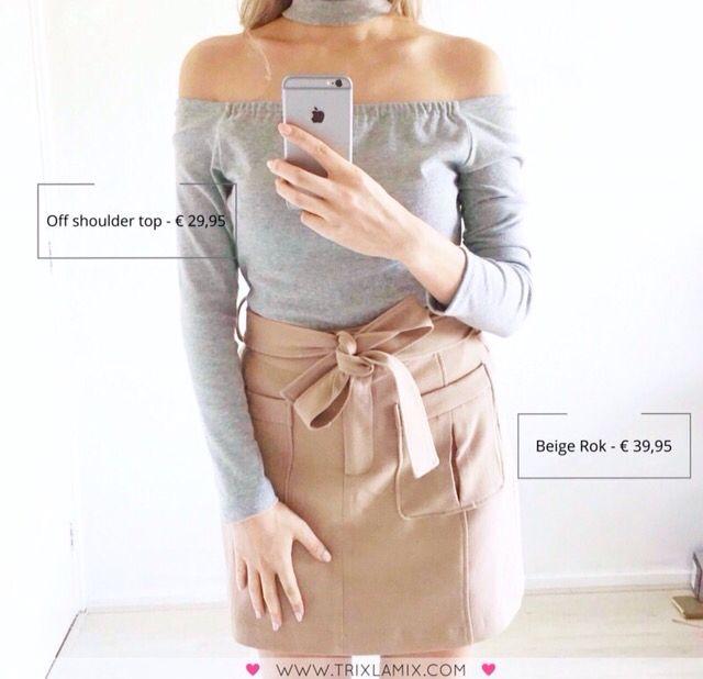 Outfit of the day voor deze zaterdag. Met deze look kan je zowel overdag als s'avonds gezien worden  .  Shop de grijze Off Shoulder  Top + Beige Rok op www.trixlamix.com  #trixlamix #outfit #skirt #weekend #ootd #ootn #instapic #picoftheday #potd #style #fashion #musthave #musthaves #fashionista #instagood #love #girl