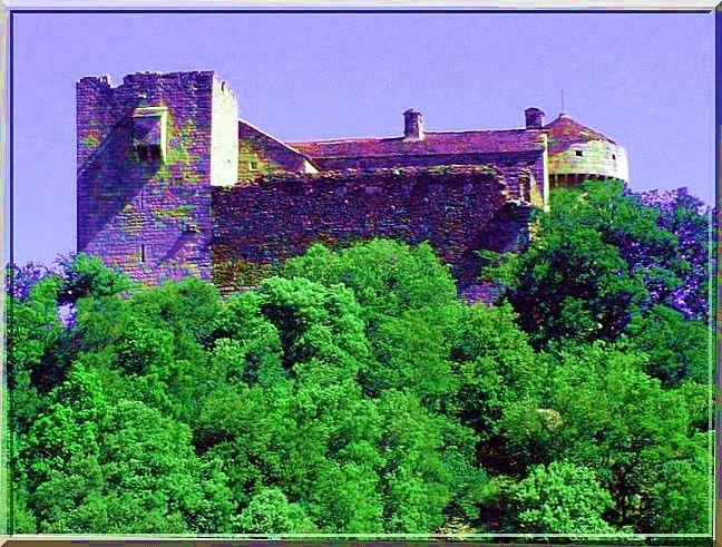 LE CHEYLARD est le nom d'un château fort à Aujac dans le Gard. Cette construction marie à merveille l'anguleux donjon et la circulaire tour. Quel feu d'artifice  !