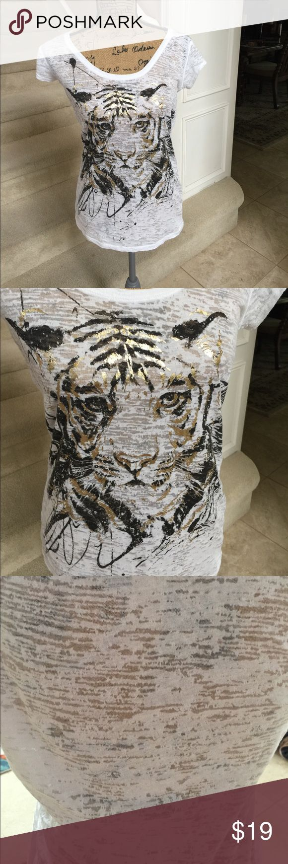 Awesome white gold foil tiger shirt Very cool. Light weight white withbalight burnout but with tan bra is totally wearable. Gold foil painted tiger. Size L. Worn maybe once. Bought from boutique. Fit my 36 c/d chest just fine. Tops Tees - Short Sleeve