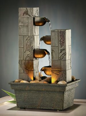http://diy-gardensupplies.com/ Cascading LED Tabletop Fountain This exquisitely designed battery operated fountain presents a dazzling display of fire and water right on your desktop!