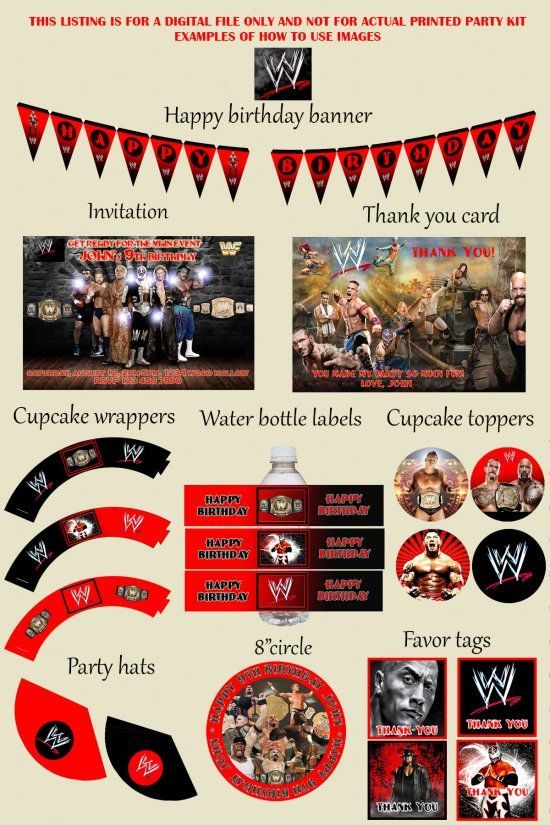WWE Wrestling Birthday Party Kit - Party Package - Custom - Printable